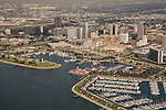 Aerial view of downtown Long Beach, CA with Shoreline Marina and Rainbow Harbor.