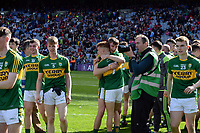 17-1-2017: The Kerry minor team celebrate after winning four-in-a-row in the All-Ireland Football final at Croke Park on Sunday.<br /> Photo: Don MacMonagle