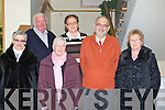LUNCH: The Ballyduff senior citzen who held their Christmas party on Sunday in Ballyroe Heights Hotel, Tralee, L-r: Mary Scott,David Joy, Pam Browne, Cait Deenihan, Bob Scott and Jane Holly.............................. ..........