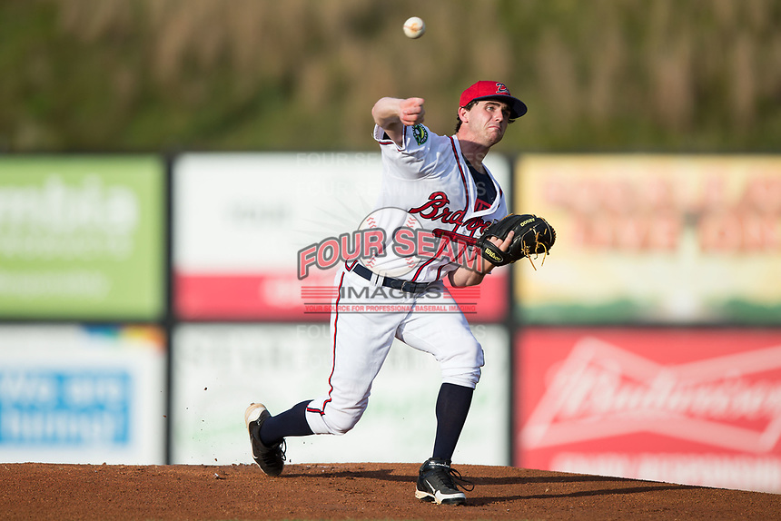 Danville Braves starting pitcher Connor Johnstone (48) delivers a pitch to the plate against the Elizabethton Twins at American Legion Post 325 Field on July 1, 2017 in Danville, Virginia.  The Twins defeated the Braves 7-4.  (Brian Westerholt/Four Seam Images)