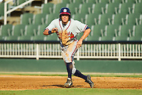 Kyle Wren (16) of the Rome Braves takes his lead off of first base against the Kannapolis Intimidators at CMC-Northeast Stadium on August 25, 2013 in Kannapolis, North Carolina.  The Intimidators defeated the Braves 9-0.  (Brian Westerholt/Four Seam Images)