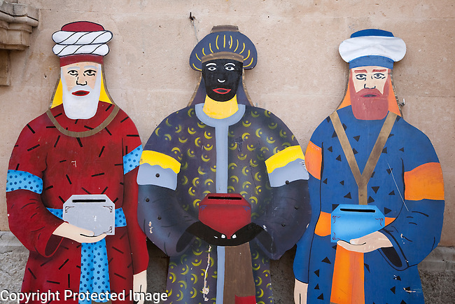 The Three Kings - Wise Men - used in the Spanish Celebration of Epiphany with Letter Boxes to Receive Letters from Chiidren, Alcudia, Majorca