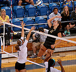BROOKINGS, SD - SEPTEMBER 5:  Wagner Larson #11 from South Dakota State looks to get a kill past Kelsi Bartlett #8 from Stephen F. Austin during their match Friday afternoon at Frost Arena in Brookings. (Photo/Dave Eggen/Inertia)