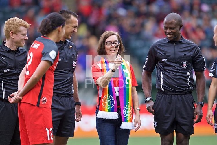 Portland, OR - Saturday June 17, 2017: Oregon Governor Kate Brown during a regular season National Women's Soccer League (NWSL) match between the Portland Thorns FC and Sky Blue FC at Providence Park.