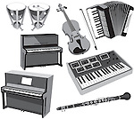 Timpani, violin, accordian,piano,keyboard and clarinet