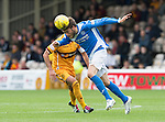 Motherwell v St Johnstone&hellip;13.08.16..  Fir Park  SPFL<br />Murray Davidson gets away from Keith Lasley<br />Picture by Graeme Hart.<br />Copyright Perthshire Picture Agency<br />Tel: 01738 623350  Mobile: 07990 594431
