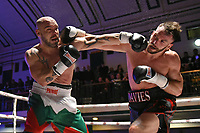 Chris Davies (black shorts) defeats Tsvetozar Iliev during a Boxing Show at York Hall on 3rd March 2018