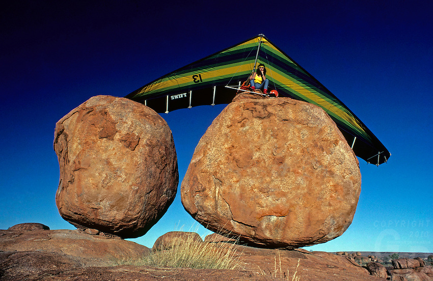 Images from the Book Journey Through Colour and Time,Hangglider and Devils Marbles, Northern Territory Australia, this image was created for a unique NT Calendar