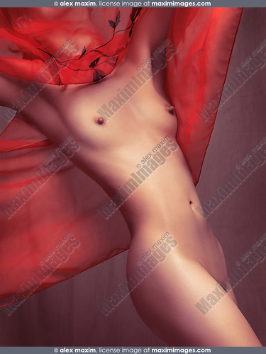 Beautiful slim young sexy naked woman body under sheer red flying poncho dress