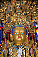Large MAITREYA STATUE in the main hall of the JOKHANG, TIBET'S holiest temple, built by KING SONGTSEN GAMPO - LHASA, TIBET