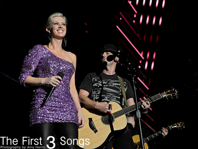 Shawna Thompson and Keifer Thompson  of Thompson Square perform at LP Field during the 2011 CMA Music Festival on June 11, 2011 in Nashville, Tennessee.