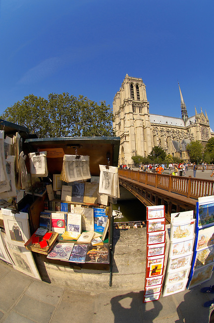 Paris - France - Seine Bank with Book Stalls Near Notre Dame