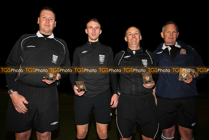 Match officials with their medals - Essex Police vs SC Crittall - Braintree & North Essex Sunday League Premier Division Cup Final at Braintree Town FC - 16/04/13 - MANDATORY CREDIT: Gavin Ellis/TGSPHOTO - Self billing applies where appropriate - 0845 094 6026 - contact@tgsphoto.co.uk - NO UNPAID USE.