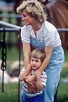 Diana, The Princess of Wales,  and Prince William, at a Polo match, Smiths Lawn, Windsor.