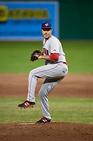 Auburn Doubledays relief pitcher David Smith (21) delivers a pitch during a game against the Batavia Muckdogs on June 28, 2018 at Dwyer Stadium in Batavia, New York.  Auburn defeated Batavia 14-9.  (Mike Janes/Four Seam Images)