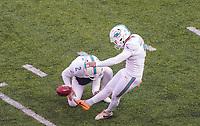 kicker Jason Sanders (7) of the Miami Dolphins beim Field Goal - 08.12.2019: New York Jets vs. Miami Dolphins, MetLife Stadium New York