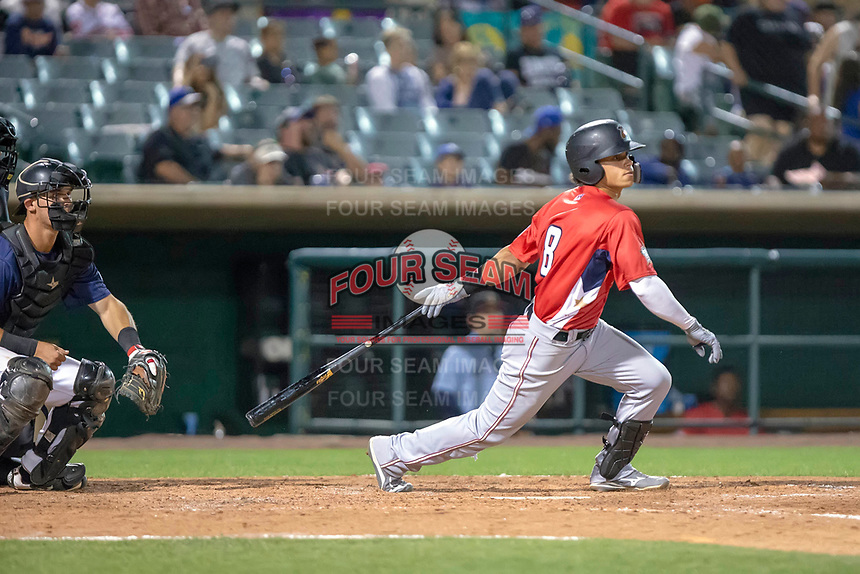 Bryson Brigman (8) of the Modesto Nuts follows through on his swing against the South Division during the 2018 California League All-Star Game at The Hangar on June 19, 2018 in Lancaster, California. The North All-Stars defeated the South All-Stars 8-1.  (Donn Parris/Four Seam Images)