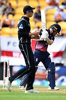 England captain Eoin Morgan out bowled during the Third ODI game between Black Caps v England, Westpac Stadium, Wellington, Saturday 03rd March 2018. Copyright Photo: Raghavan Venugopal / © www.Photosport.nz 2018