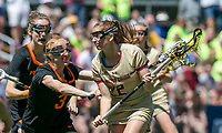 Newton, Massachusetts - May 18, 2019: NCAA Division I lacrosse tournament quarterfinals. Boston College (gold) defeated Princeton University (black), 17-12, at Newton Campus Field on May 18, 2019 in Newton, Massachusetts. (Photo by Andrew Katsampes/ISI Photos).