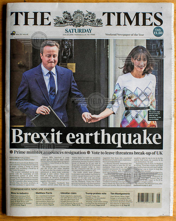 The front cover of the Times newspaper on 25 June 2016, two days after the EU referendum. The Times, owned by Australian media tycoon Rupert Murdoch, supported the Remain (in the EU) side during the campaign leading up to the vote.