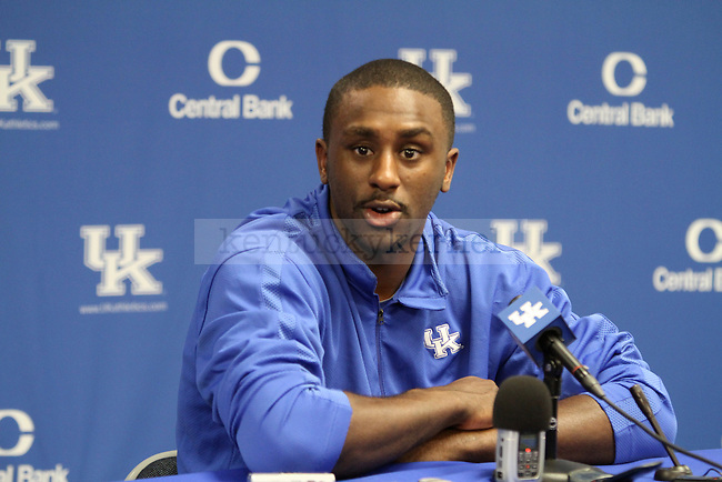 Patrick Patterson announces that he will be entering the NBA draft after three years at UK at Memorial Coliseum on Friday April 23, 2010. Photo by Latara Appleby | Staff
