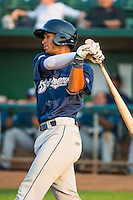 Jake Gatewood (8) of the Helena Brewers at bat against the Ogden Raptors in Pioneer League action at Lindquist Field on August 19, 2015 in Ogden, Utah. Ogden defeated Helena 4-2.  (Stephen Smith/Four Seam Images)