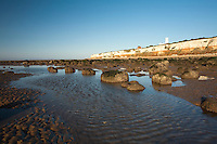 Two tone cliffs and lighthouse at Hunstanton, Norfolk, Uk