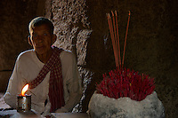 A local Khmer priest at Prasat Taprom and Tonle Bati, Cambodia