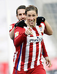 Atletico de Madrid's Fernando Torres (r) and Koke Resurrecccion celebrate goal during La Liga match. February 14,2016. (ALTERPHOTOS/Acero)