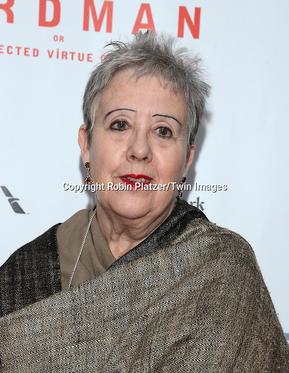 Tess Gallagher, widow of Raymond Carver attends &quot;Birdman or The Unexpected Virtue of Ignorance&quot; screening at The 52nd New York Film Festival on October 11, 2014 at Alice Tully Hall in New York City. <br /> <br /> photo by Robin Platzer/Twin Images<br />  <br /> phone number 212-935-0770