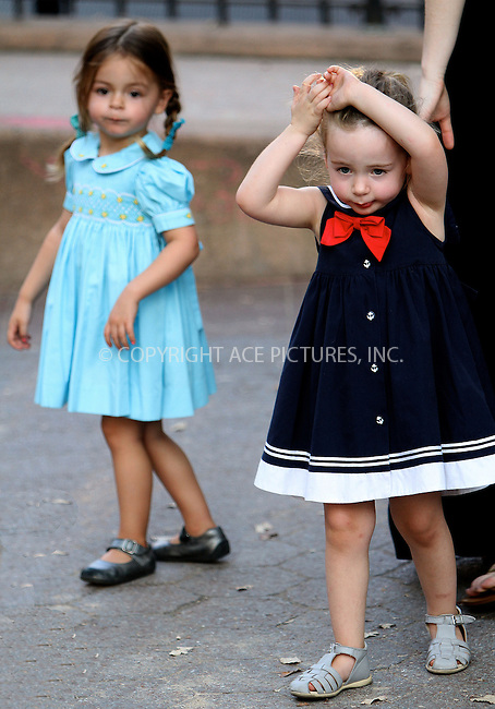 WWW.ACEPIXS.COM....October 5 2012, New York City....Twins Tabitha (L) and Marion Broderick went to a playground in the West viallage with a nanny on October 5 2012 in New York City......By Line: Nancy Rivera/ACE Pictures......ACE Pictures, Inc...tel: 646 769 0430..Email: info@acepixs.com..www.acepixs.com