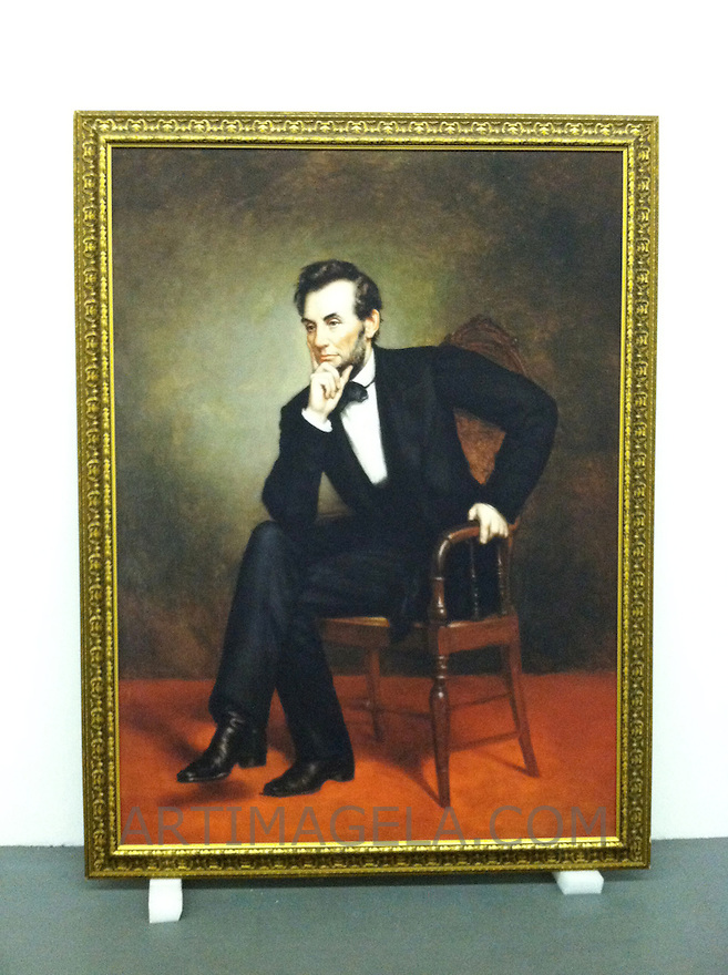 Reproduction of Healy, George Peter Alexander (1813-1894)<br /> Portrait of Abraham Lincoln, 1887. Oil on canvas, 74&quot; x 54&quot;<br /> Reproduction Stretcher Size:  74&quot; x 54&quot; Framed Size 62&quot; x 82&quot;