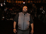 """James Monroe Iglehart backstage before The Rockefeller Foundation and The Gilder Lehrman Institute of American History sponsored High School student #EduHam matinee performance of """"Hamilton"""" at the Richard Rodgers Theatre on October 25, 2017 in New York City."""
