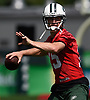 Josh McCown #15, New York Jets quarterback, throws a pass during Training Camp at the Atlantic Health Jets Training Center in Florham Park, NJ on Saturday, Aug. 18, 2018.