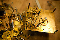 A dismantled clock at l'Atelier d'Horlogerie, Place du Frene, Vence, France, 17 November 2010