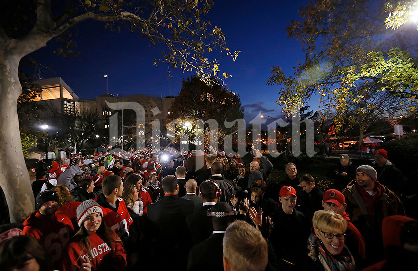 The Ohio State Buckeyes celebrate with fans as they head into Ohio Stadium before the college football game between the Ohio State Buckeyes and the Minnesota Golden Gophers in Columbus, Saturday night, November 7, 2015. (The Columbus Dispatch / Eamon Queeney)