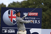 Matteo Manassero (ITA) on the 2nd tee during Round 3 of the Sky Sports British Masters at Walton Heath Golf Club in Tadworth, Surrey, England on Saturday 13th Oct 2018.<br /> Picture:  Thos Caffrey | Golffile