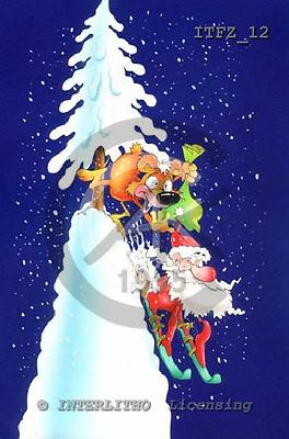 Fabrizio, Comics, CHRISTMAS SANTA, SNOWMAN, paintings, ITFZ12,#x# Weihnachten, Navidad, illustrations, pinturas