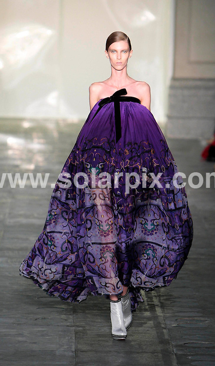 **ALL ROUND PICTURES FROM SOLARPIX.COM** **NO UK NEWSPAPER PUBLICATION**.**UK MAGAZINE & SUPPLEMENT PUBLICATION ONLY** AND NO PUBLICATION IN AUSTRALIA, BELGIUM, FRANCE, GERMANY, ITALY, SCANDINAVIA AND USA** Caption: The Mary Katrantzou catwalk show at London Fashion Week, London, UK. 22 February 2011 This pic: Mary Katrantzou catwalk show JOB REF: 12868 SFE DATE: 22_02_2011 **MUST CREDIT SOLARPIX.COM OR DOUBLE FEE WILL BE CHARGED** **MUST AGREE FEE BEFORE ONLINE USAGE** **CALL US ON: +34 952 811 768 or LOW RATE FROM UK 0844 617 7637**