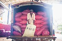 Dambulla vegetable wholesale market, photo of a worker, Dambulla, Central Province, Sri Lanka, Asia. This is a portrait photo of a worker at Dambulla vegetable wholesale market, Dambulla, Central Province, Sri Lanka, Asia.