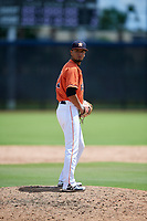 GCL Astros relief pitcher Jervic Chavez (19) gets ready to deliver a pitch during a game against the GCL Marlins on August 5, 2018 at FITTEAM Ballpark of the Palm Beaches in West Palm Beach, Florida.  GCL Astros defeated GCL Marlins 2-1.  (Mike Janes/Four Seam Images)