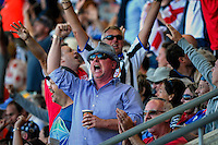 Barmy Army fans chant during the ICC Cricket World Cup one day pool match between the New Zealand Black Caps and England at Wellington Regional Stadium, Wellington, New Zealand on Friday, 20 February 2015. Photo: Dave Lintott / lintottphoto.co.nz