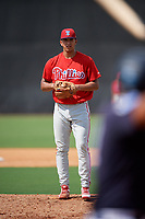 Philadelphia Phillies pitcher Francisco Morales (29) looks in for the sign during a Florida Instructional League game against the New York Yankees on October 11, 2018 at Yankee Complex in Tampa, Florida.  (Mike Janes/Four Seam Images)