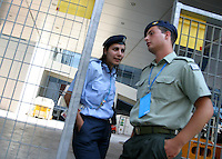 Aug 13, 2004 - Athens, CA, Greece - Greek Security guards one of the back gates to the Media Center in Athens Greece on Friday August 13, 2004..(Credit Image: © Alan Greth)