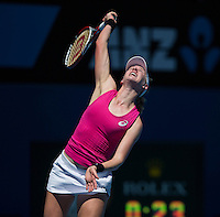ALISON RISKE (USA)<br /> Tennis - Australian Open - Grand Slam -  Melbourne Park -  2014 -  Melbourne - Australia  - 17th January 2014. <br /> <br /> &copy; AMN IMAGES, 1A.12B Victoria Road, Bellevue Hill, NSW 2023, Australia<br /> Tel - +61 433 754 488<br /> <br /> mike@tennisphotonet.com<br /> www.amnimages.com<br /> <br /> International Tennis Photo Agency - AMN Images