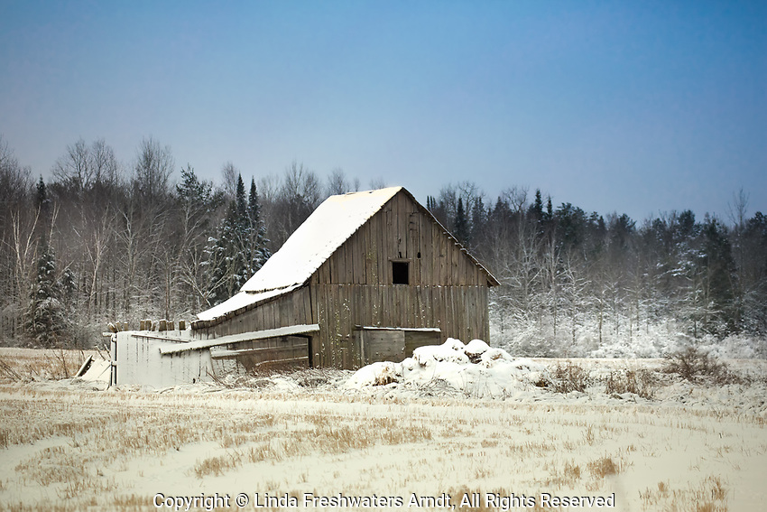 Snow-covered barn in northern Wisconsin.