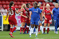 Tash Harding of Liverpool Ladies and Chelsea's Eniola Aluko at the final whistle during Chelsea Ladies vs Liverpool Ladies, FA Women's Super League FA WSL1 Football at Kingsmeadow on 7th October 2017