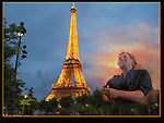 France, Paris.  <br /> John Kieffer, a not too serious flaneur in Paris.<br /> Seven trips, about 140 nights, about 12,000 miles driven through 12 countries.