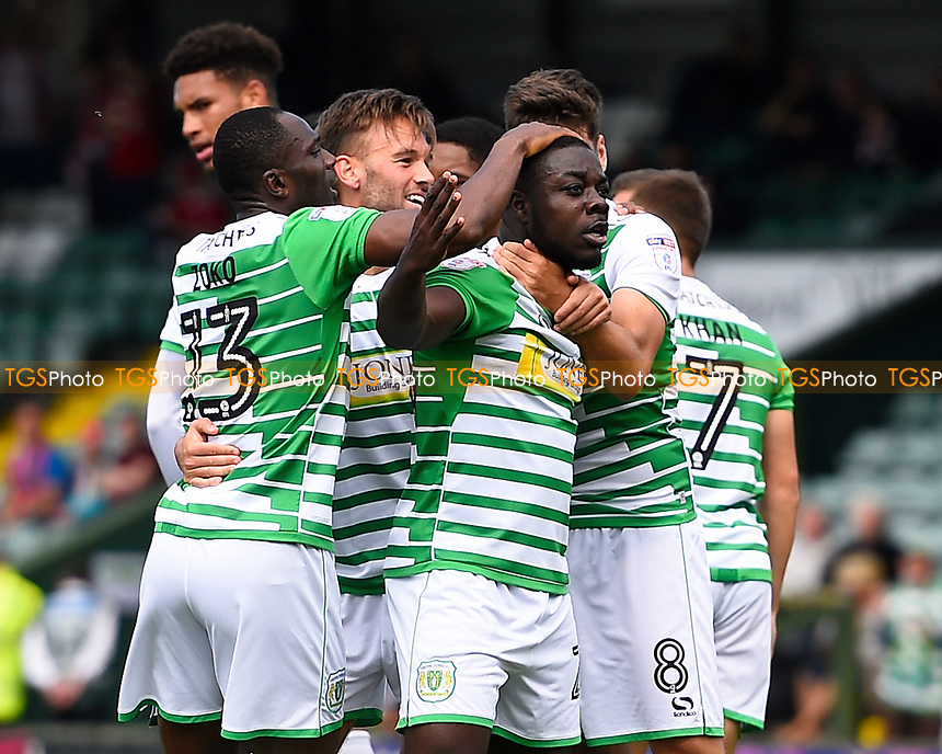 Olufela Olomola of Yeovil Town celebrates after scoring his first goal during Yeovil Town vs Accrington Stanley, Sky Bet EFL League 2 Football at Huish Park on 12th August 2017