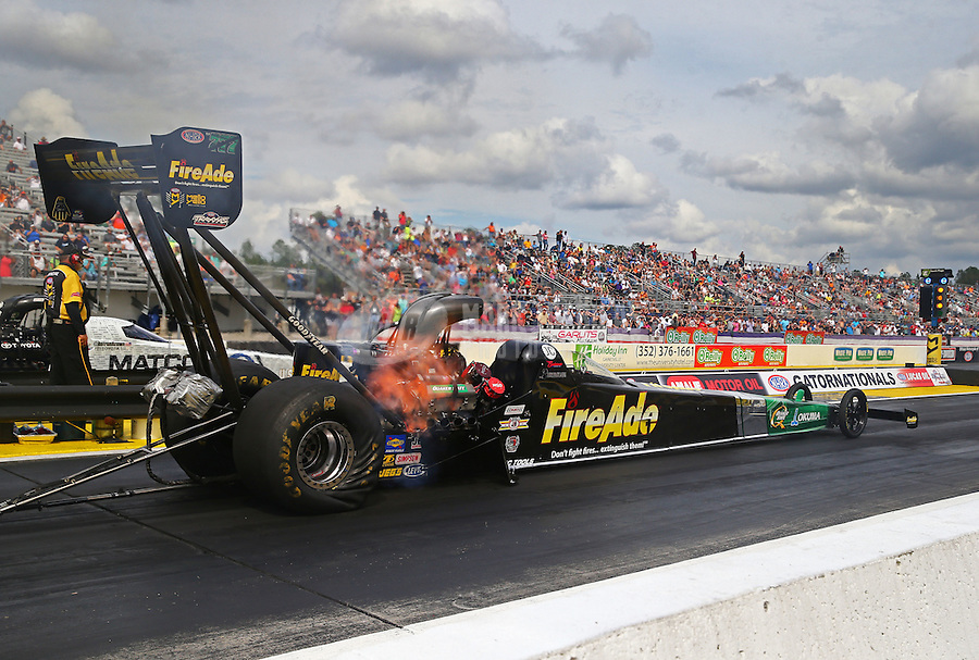 Mar 18, 2016; Gainesville, FL, USA; NHRA top fuel driver Leah Pritchett during qualifying for the Gatornationals at Auto Plus Raceway at Gainesville. Mandatory Credit: Mark J. Rebilas-USA TODAY Sports